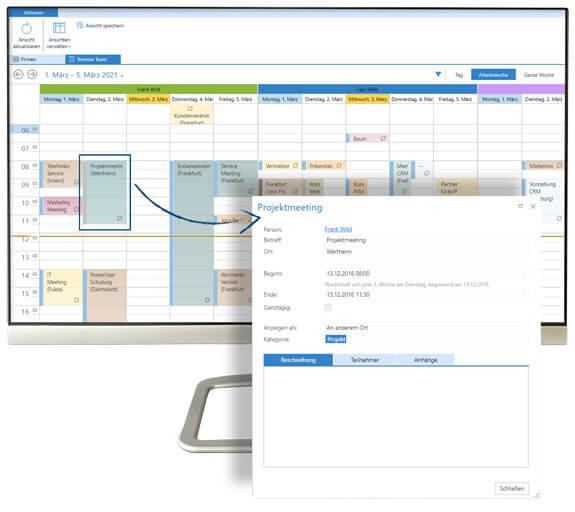 Business App Schedule Gruppenkalender mit Detailansicht auf Desktop